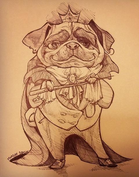 PugKing, Sketch - pug, royal, dog - barkpointstudio   ello