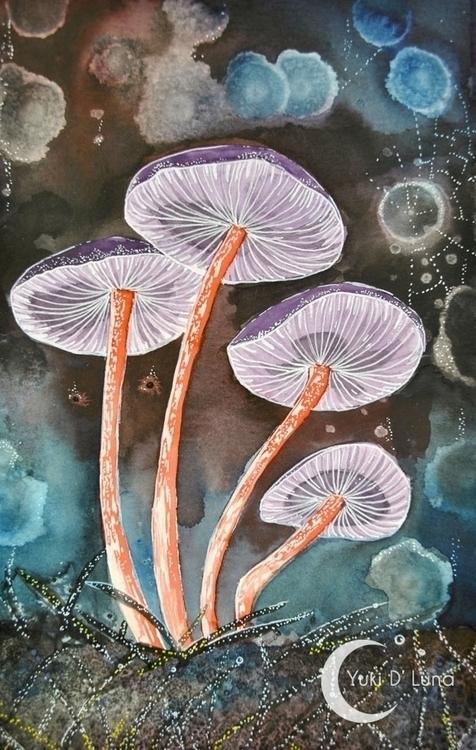 Yuki Luna - watercolor, mushroom - yukidluna | ello