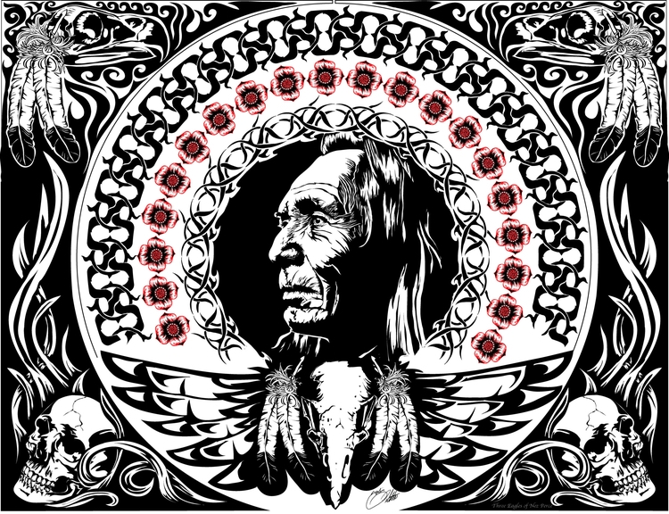 Eagles - threeeagles, skull, nativeamerican - tobinpilotte | ello
