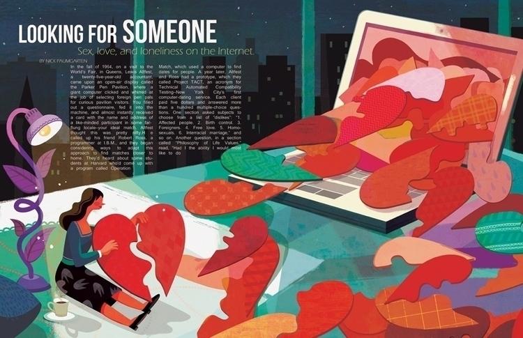 onlinedating, love, editorialillustration - ping-7637 | ello