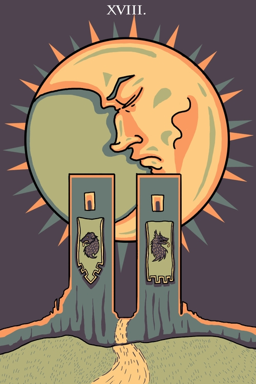 Moon (XVIII - illustration, tarot - wingywonky-5811 | ello