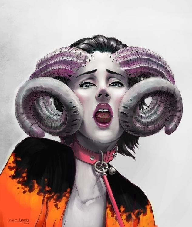 girl, female, woman, horror, horns - qci | ello