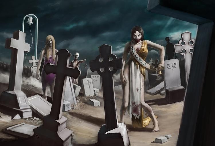 zombie, cemetery, illustration - qci | ello