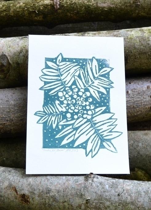 Mountain ash lino print. A5 - linocut - polkip | ello