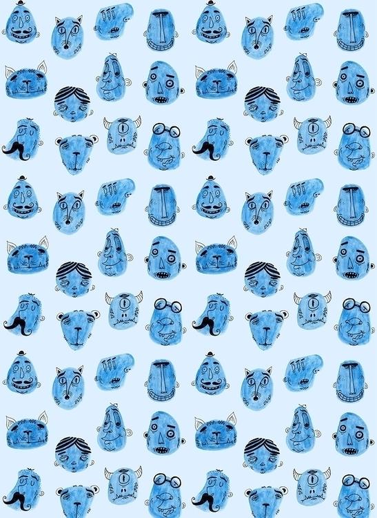 Blue pattern - patterndesign, characterdesign - patino | ello