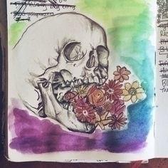 skull, drawing, pencil, graphite - sarapetrolis | ello