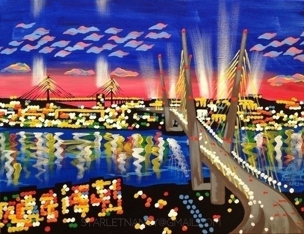 Vladivostok, Golden bridge - painting - annakado | ello
