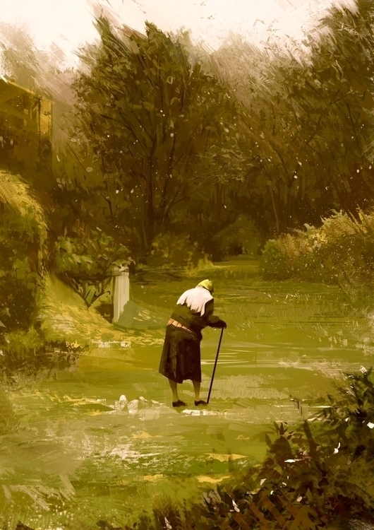 Grandma - meadow, wood, walking - ricardcendra | ello