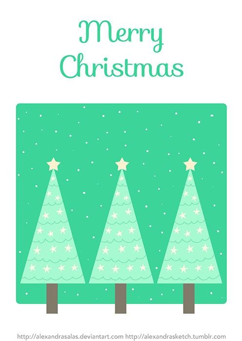 christmas, holidays, postcard - alexandrasketch   ello
