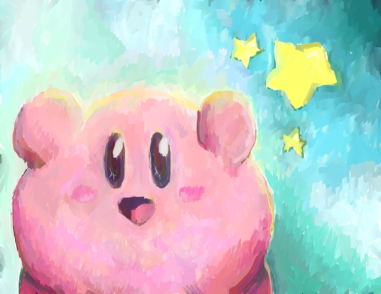 Happy Kirby digital painting - kirby - rabbott-8438 | ello