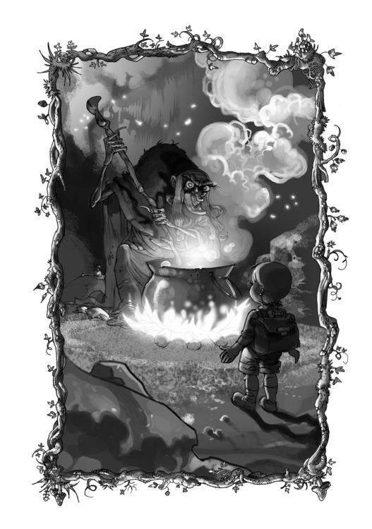 Witch prepares stew - illustration - tiho-3213   ello