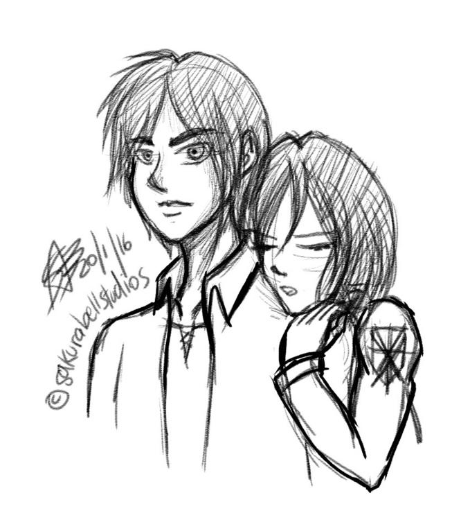 sketch Eren Mikasa Shingeki kyo - sakurabell | ello