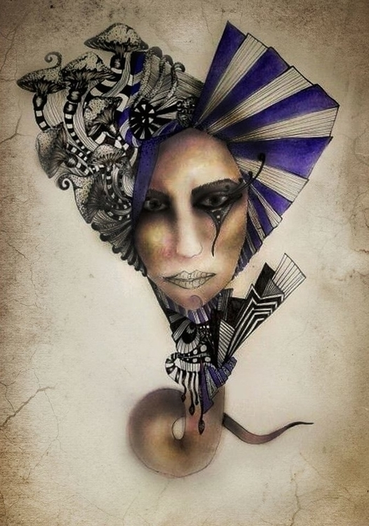 Mushroom head - portrait, illustration - ibtisam | ello