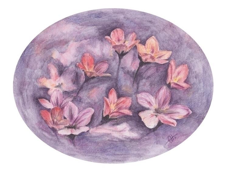 Purple flowers - drawing - barbaroid | ello