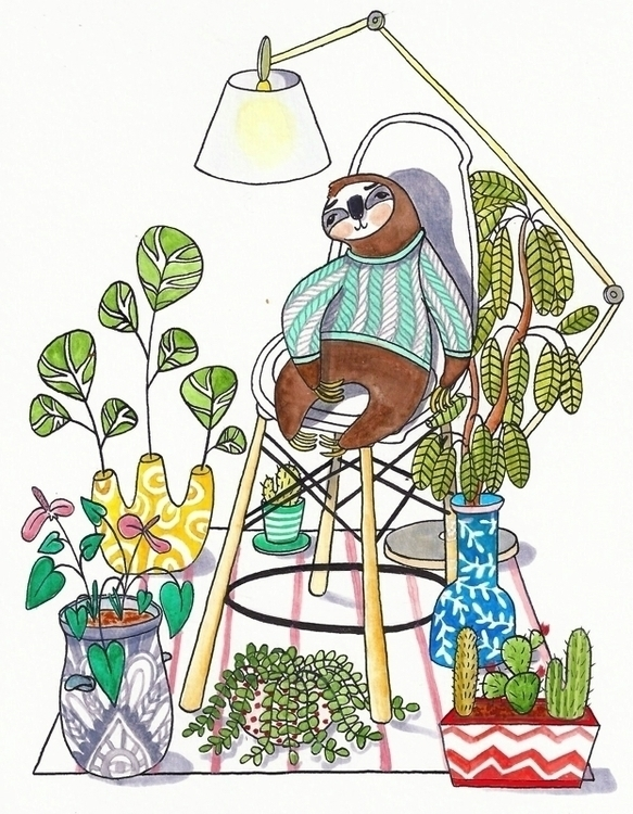 Sloth - sloth, illustration, watercolor - jolienkempen | ello