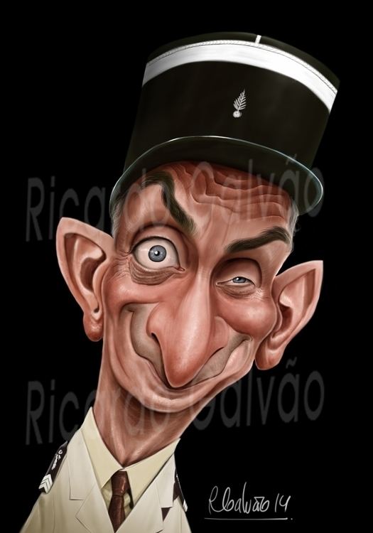 Louis de Funes - illustration, painting - rgalvao | ello