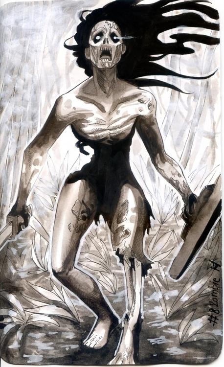 ink paper - zombie, inktober2015 - kadjura | ello