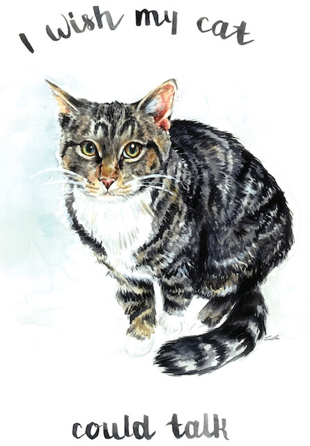 cat talk - illustration, painting - cpicheco | ello