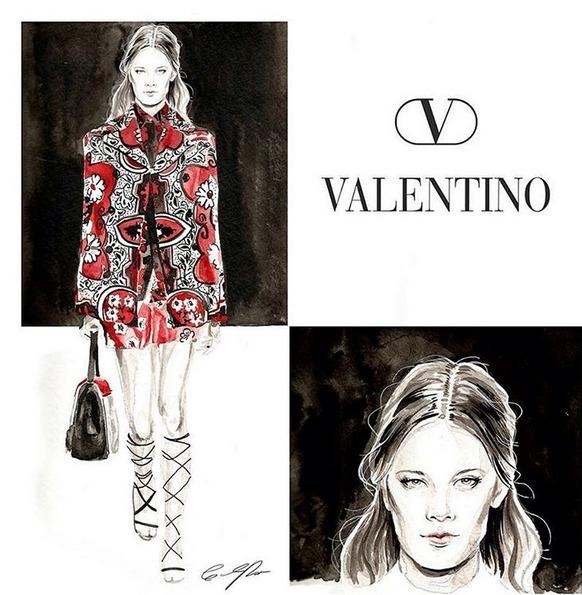Valentino - watercolor, fashionillustration - cpicheco   ello