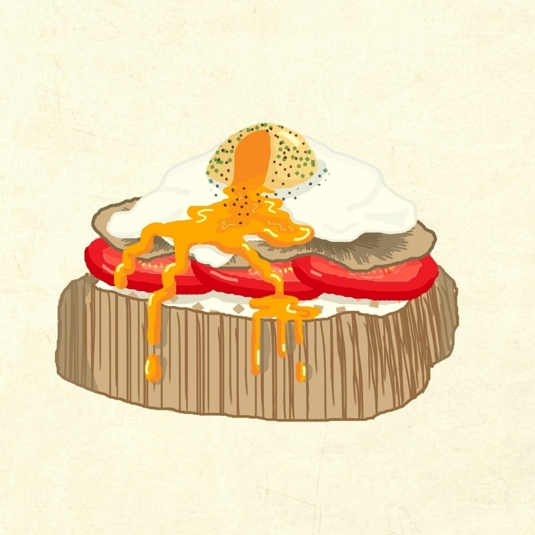 Poached egg, illustrated Bord W - guycresswell | ello