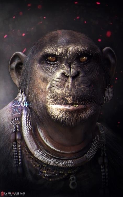 African monkey - conceptart, characterdesign - emanalshehabi | ello