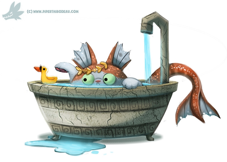 Daily Paint Poseidon Cat - 1034. - piperthibodeau | ello