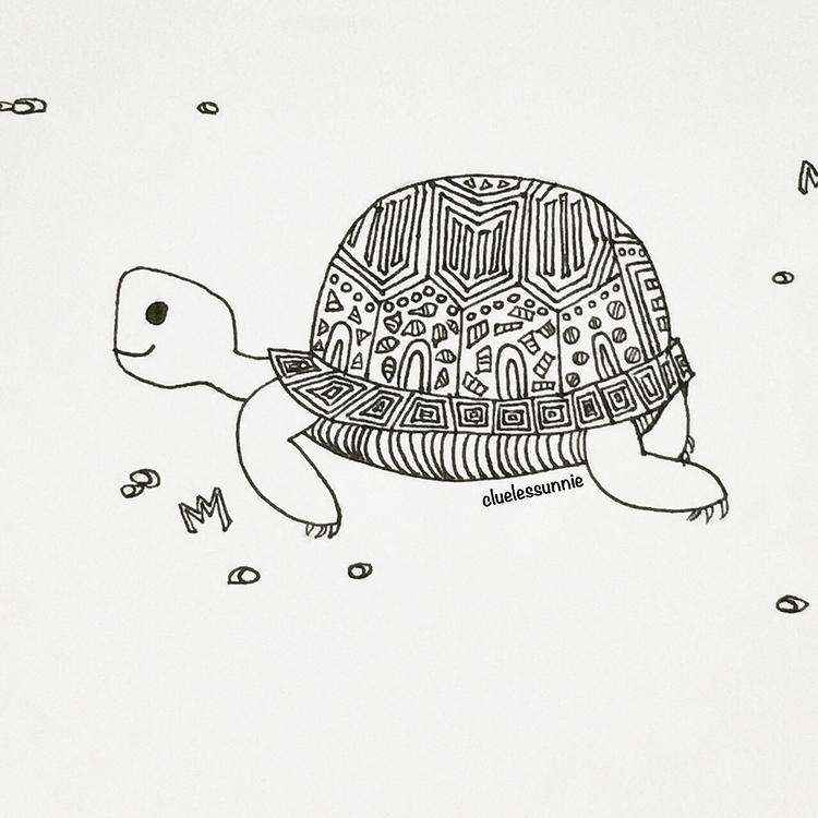 Tortoise - illustration, drawing - hanvone | ello