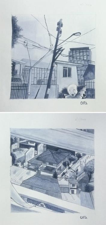 painting, watercolour - cat-8775   ello
