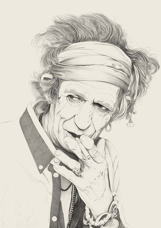 Keith Richards portrait poster - poposter | ello
