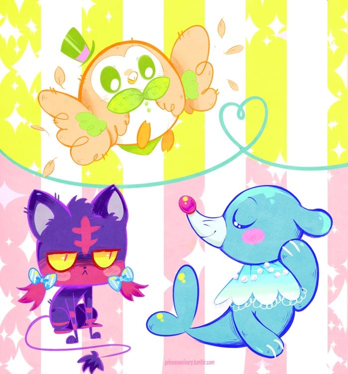 sun moon starters - pokemon - princessmisery | ello