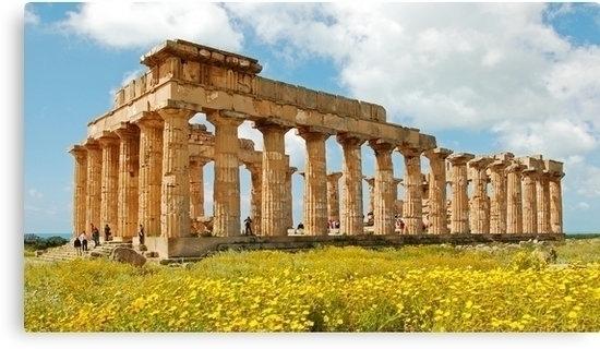 Greek temple field yellow flowe - leo_brix | ello