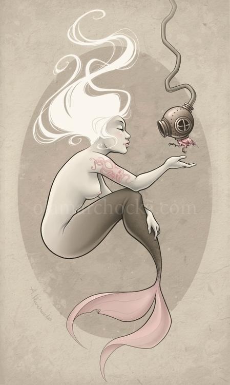 Mermaid Scuba Bird - mermaid, fish - aleksandracupcake   ello