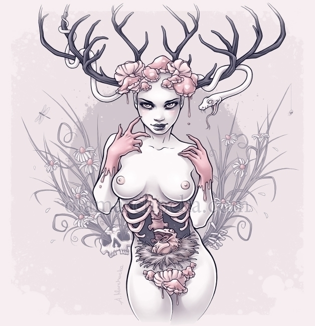 Hollow - woman, girl, deer, antlers - aleksandracupcake | ello