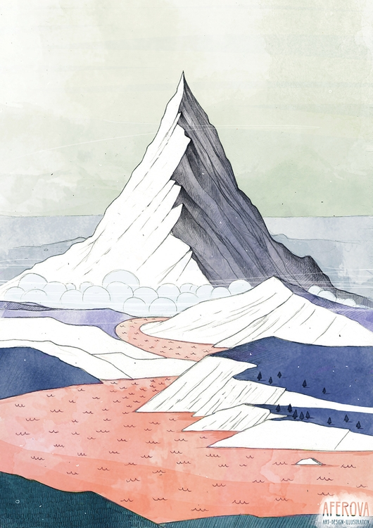 Lonely Mountain - 1, illustration - aferova | ello