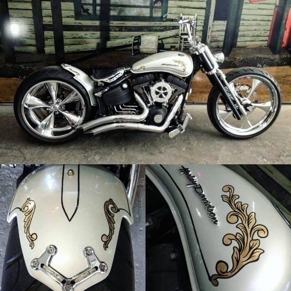 Gold Leaf Flourish chopper - #motorcycle - gibara | ello