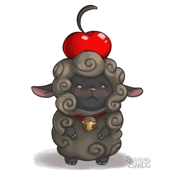 Chocolate puff sheep - illustration - sketchingsands | ello