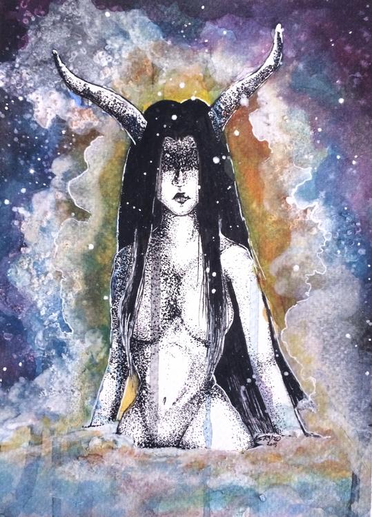 Spirit night || 5x7 Watercolour - esutick | ello