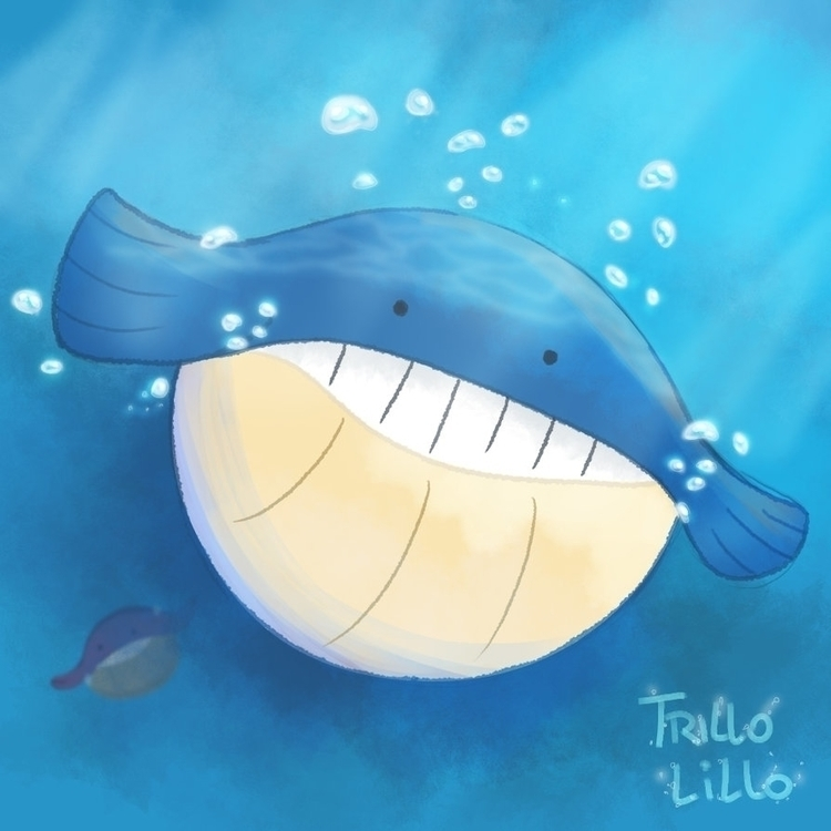 wailmer - pokemon, illustration - trillolillo | ello