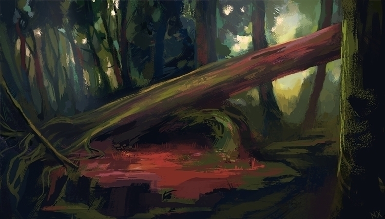 Fallen Tree - forest, tree, illustration - nicolexu-8498 | ello