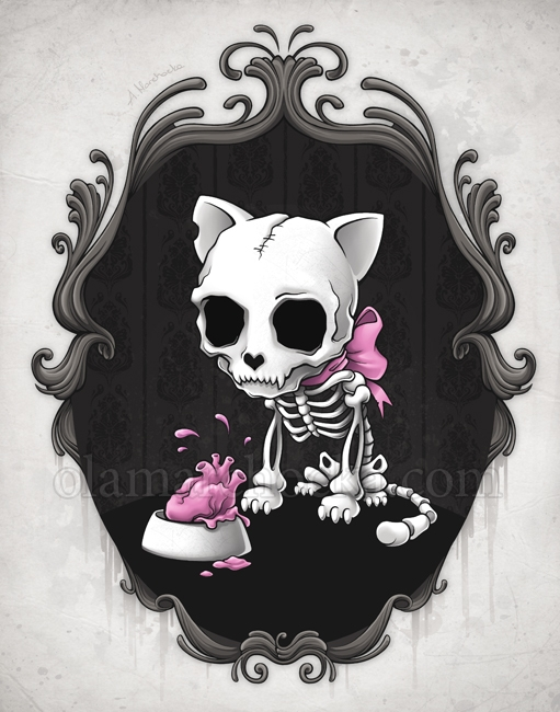 Bone Kitty - cat, kitty, kitten - aleksandracupcake | ello