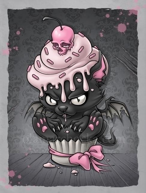 Devil Kitty Cupcake - cupcake, sweets - aleksandracupcake | ello