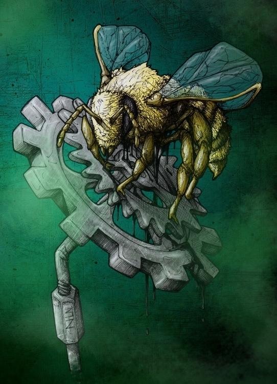 Save Bees - bee, gear, digitalart - 3zeta | ello