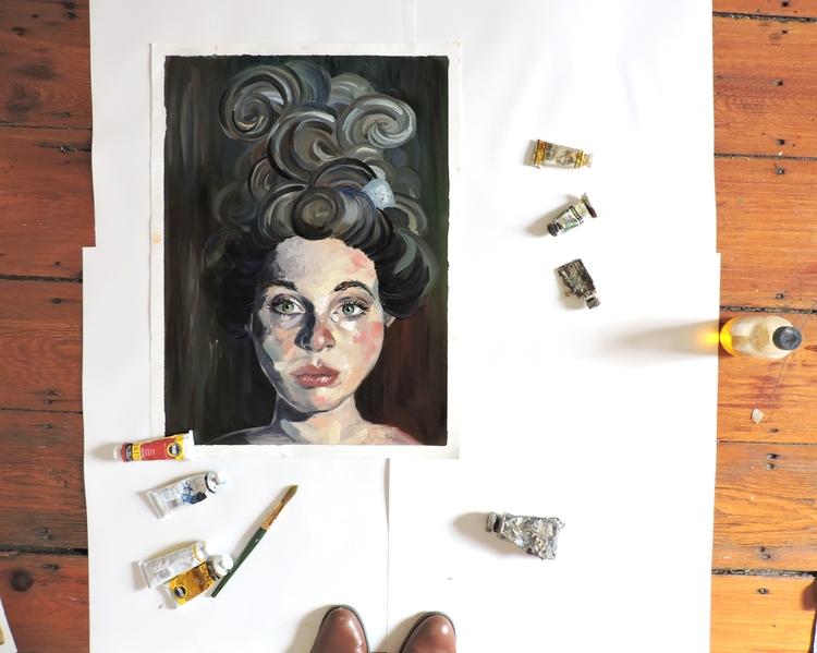 portrait  - selfportrait, painting - katherinecafaro | ello