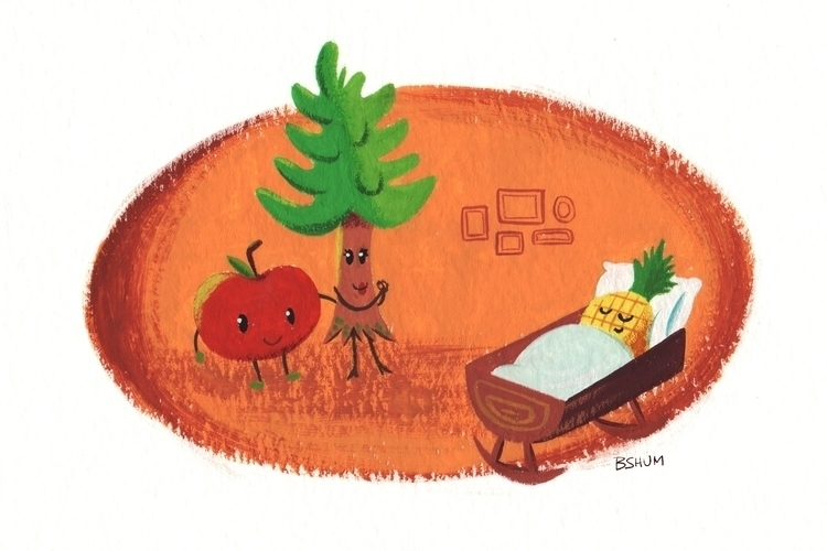Pine Tree + Apple = Pineapple - gouache - bshum | ello