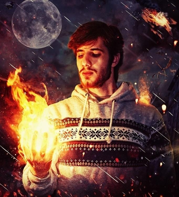 fire - selfportrait, poster, print - tarekhakeem | ello