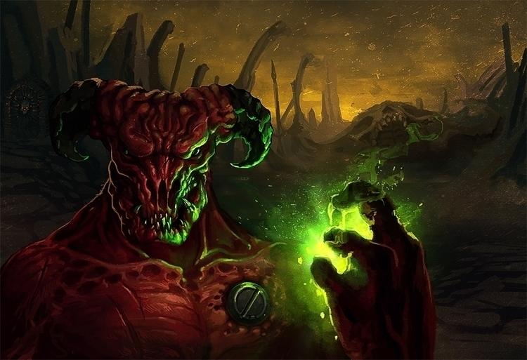 2016 Baron Hell - Doom fan art - yarongranotart | ello