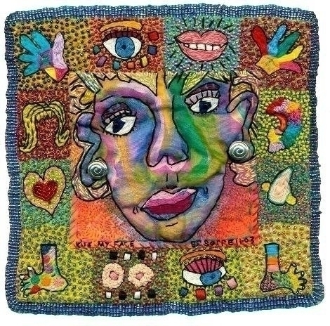 Kiss face - #fiberat#textileart#mixedmedia - creativechick | ello