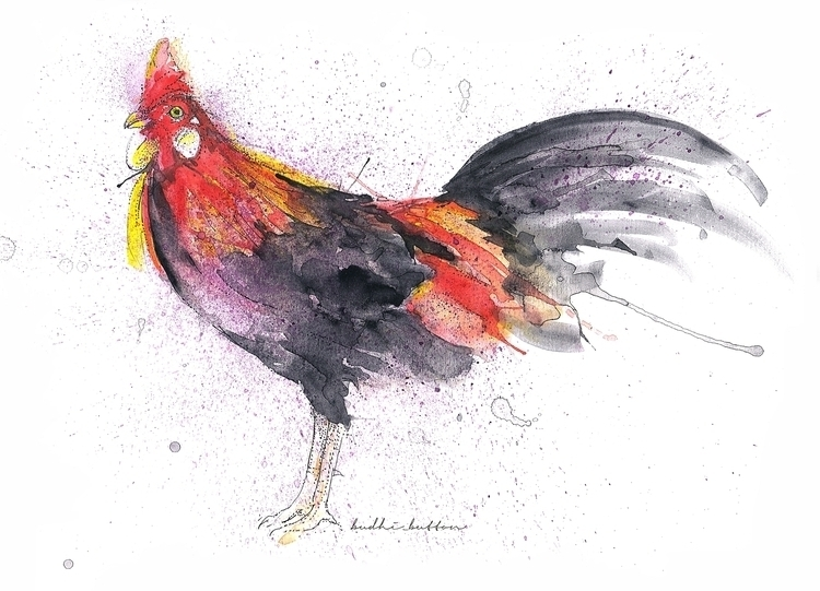 Rooster, water colour - illustration - budhi | ello