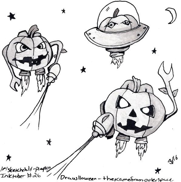 - Pumpkins outer space Inktober - svaeth | ello