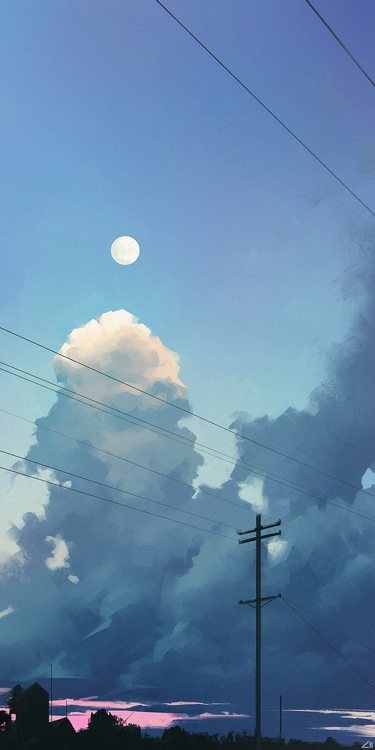 moon - illustration, painting, environment - ziiart | ello